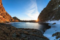 Caltun lake in Fagaras Mountains Stock Photos