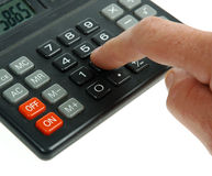Calulate Concept. Calculator with Finger on button Royalty Free Stock Photo