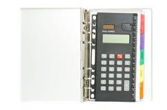 Calulator innerhalb des Notizbuches Stockbild
