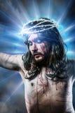 Calvaire Jésus, saignement d'homme, représentation de passion avec le bleu images libres de droits