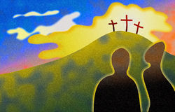 Calvary. Two people looking on at the hill of calvary - stylised illustration Royalty Free Stock Image