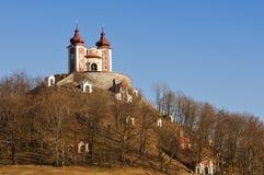 Calvary in Banska Stiavnica, upper Church stock photo