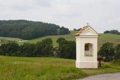 Calvary. Baroque Calvary by grass field near Vodnany (Czech republik Stock Photography