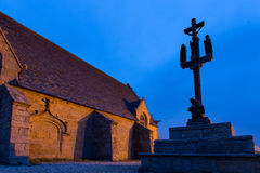 Calvary and chapel. De la joie at night in Brittany, France Stock Images