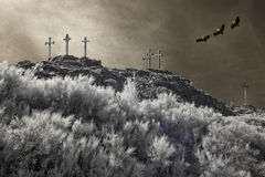 Calvary. Christian crosses on the top of a mountain overflown by griffins. Used analog infrared filter and other digital filters Royalty Free Stock Images