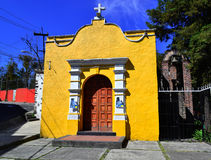 Calvary Church. Ancient Church of the seventeenth century, which has been rebuilt several times, located in Tlapan, south of Mexico City Stock Images