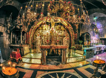 Calvary Church of the Holy Sepulchre in Jerusalem. Altar erected over the place of the crucifixion of Jesus Christ Royalty Free Stock Photos