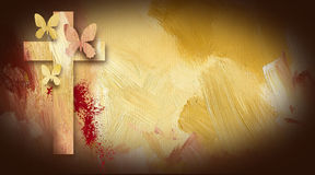 Calvary Cross blood stain forgiven butterflies. Photo composition graphic of Cross of Jesus with forgiven butterflies on painted oil background with sacrificial Stock Photography