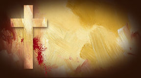Calvary Cross Blood Stains on texture background. Photo composition graphic of Cross of Jesus on painted oil background with sacrificial blood Royalty Free Stock Photos