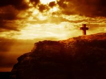 Calvary cross on a rock Royalty Free Stock Photography