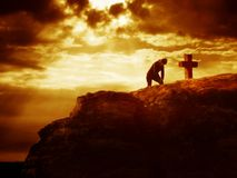 Calvary cross series - prayer Royalty Free Stock Photography