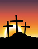 Calvary Crosses at Sunrise Illustration Royalty Free Stock Photography