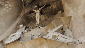Calvary and the Crucifixation - Sagrada Familia. Groups of the Calvary and the Crucifixation, at the Passion Facade section of the exterior of Sagrada Familia Royalty Free Stock Photo