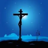 Calvary - crucifixion scene with Jesus Christ on c. Easter calvary scene with cross in dark night. Crucifixion of Jesus Christ. Vector Illustration Royalty Free Stock Photography