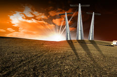Calvary Crucifixion - Symbol of Golgotha. Hill with three crosses at sunset symbol of Christ's Calvary Stock Image