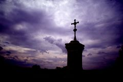 Calvary. Dimming over the calvary in National park Czech Switzerland stock images