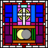 Calvary and Holy Sepulchre. Illustration of a part of a stained glass window with the Calvary with three empty crosses and the Holy Sepulchre from which Christ Stock Photography