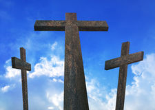 Calvary. An illustration of Wooden Cross Crosses in Calvary Stock Photography