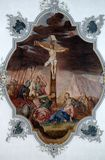 Calvary - Jesus dies on the cross. Fresco on the ceiling of the Church of Our Lady of Sorrows in Rosenberg, Germany Royalty Free Stock Photography