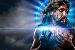 Calvary jesus, man bleeding, representation of passion with blue Royalty Free Stock Images