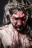 Calvary jesus, man bleeding, representation of passion Royalty Free Stock Photos
