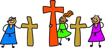 Calvary kids. Diverse kids holding the crosses of calvary easter story - toddler art series Royalty Free Stock Images