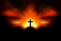 Calvary. On a mountain side at sunset Royalty Free Stock Photography