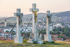 Calvary in Nitra city, Slovakia, religious place, sunset scene stock images