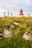 Calvary, Nitra, Slovakia. Small Church, Chapel and Jesus Christ Cross on the Hill at Sunset on Calvary, Nitra, Slovakia Stock Photos