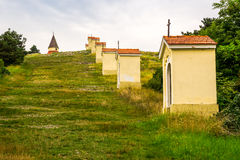 Calvary, Nitra, Slovakia. Small Church and Chapels in the Row on Calvary, Nitra, Slovakia Stock Image