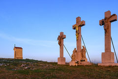 Calvary in Nitra before sunrise Royalty Free Stock Image