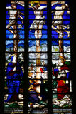 Calvary. Stained glass window from the  Death of Crhist in  the chapel of Saint Louis(Château de Champigny-sur-Veude) in France Royalty Free Stock Photos