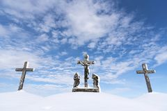 Calvary - Three Cross covered with snow stock photography