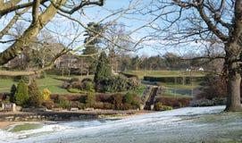 Calverley Grounds, Royal Tunbridge Wells, Kent UK. Photographed on an icy winter`s day. Calverley Grounds in the centre of Royal Tunbridge Wells, Kent UK royalty free stock photography