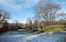 Calverley Grounds, Royal Tunbridge Wells, Kent UK. Photographed on an icy winter`s day. Calverley Grounds in the centre of Royal Tunbridge Wells, Kent UK royalty free stock image