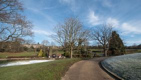 Calverley Grounds, Royal Tunbridge Wells, Kent UK. Photographed on an icy winter`s day. Calverley Grounds in the centre of Royal Tunbridge Wells, Kent UK stock image