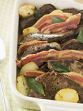 Calves Liver Bacon and Saute potatoes Royalty Free Stock Photography