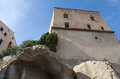 Calvi, ακρόπολη, αρχαίοι τοίχοι, ορίζοντας, Κορσική, Κορσική, Γαλλία, Ευρώπη, νησί Στοκ Εικόνες