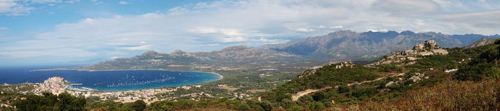 Calvi. Panoramic sight of bay of Calvi Stock Photos