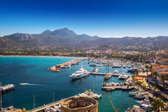 Calvi beach and old town with harbour on Corsica Royalty Free Stock Photo