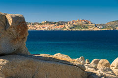 Calvi citadel viewed from across Calvi Bay in Corsica Stock Photos