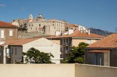 Calvi, citadela, paredes antigas, skyline, Córsega, Corse, França, Europa, ilha Fotos de Stock Royalty Free