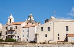 Calvi, citadelle, murs antiques, horizon, Corse, Corse, France, l'Europe, île Photos stock