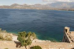 Calvi, citadelle, plage, mer, murs antiques, marina, voiliers, horizon, Corse, Corse, France, l'Europe, île Images libres de droits
