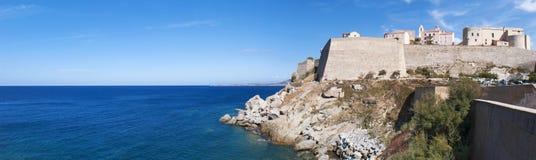 Calvi, citadelle, plage, murs antiques, marina, voiliers, horizon, Corse, Corse, France, l'Europe, île Image stock
