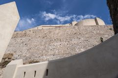 Calvi, cytadela, antyczne ściany, linia horyzontu, Corsica, Corse, Francja, Europa, islandi Obraz Royalty Free