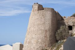 Calvi, cytadela, antyczne ściany, linia horyzontu, Corsica, Corse, Francja, Europa, islandi Fotografia Stock