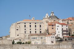 Calvi, cytadela, antyczne ściany, linia horyzontu, Corsica, Corse, Francja, Europa, wyspa Obrazy Stock