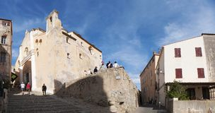 Calvi, cytadela, katedra, antyczne ściany, linia horyzontu, Corsica, Corse, Francja, Europa, wyspa Obrazy Royalty Free