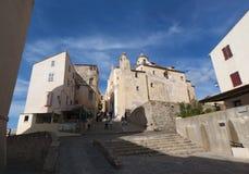 Calvi, cytadela, katedra, antyczne ściany, linia horyzontu, Corsica, Corse, Francja, Europa, wyspa Zdjęcie Royalty Free